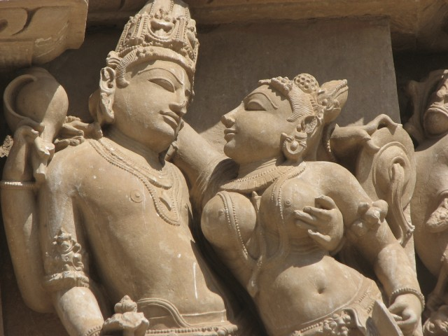 Erotic carving at Khajuraho Temples