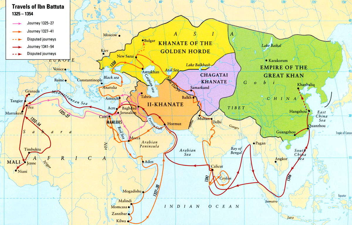 Map travels of Ibn Battuta
